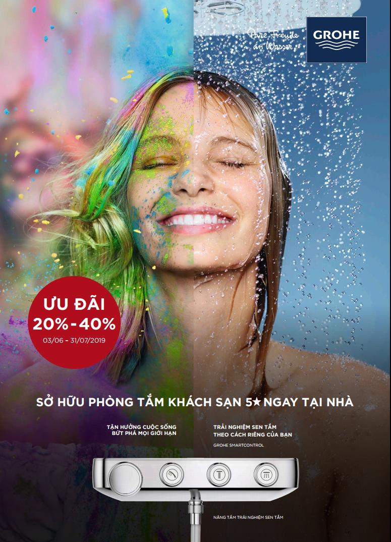 Chương trình khuyến mãi thiết bị vệ sinh Grohe mùa hè 2019 ưu đãi lên đến 40%